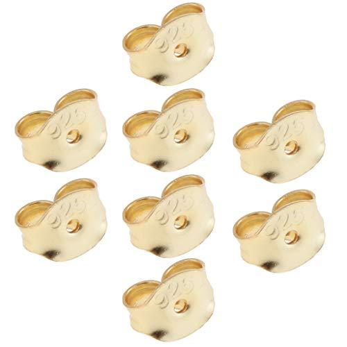 Almencla 8Pcs 925 Sterling Ear Nut Backings Reemplazos Pendientes de Seguridad Tapón - Oro, tal como se describe