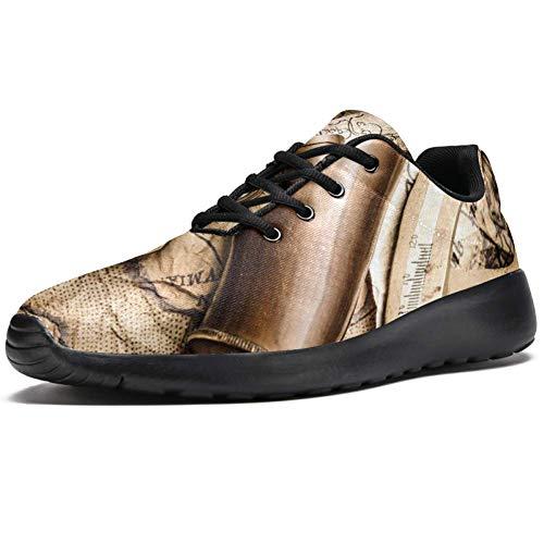 TIZORAX - Zapatillas deportivas para hombre, diseño retro con brújula y telescopio, de malla, transpirables, para caminar, senderismo, tenis, color Multicolor, talla 45 EU