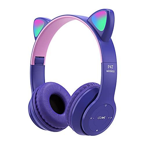 Yissone Drahtlose Bluetooth 5. 0 LED Glowing Kinder Headset Multi- Farbige Kopf- Mount Katze Ohren Kopfhörer Klapp Headset für Jungen Und Mädchen