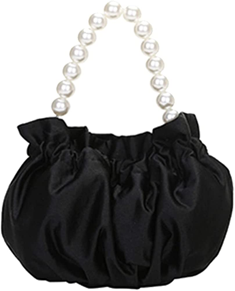 Womens Elegant Satin imitation pearl shoulder bag for women,Pleated Satin Evening Handbag