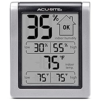 AcuRite 00613 Digital Hygrometer & Indoor Thermometer Pre-Calibrated Humidity Gauge 3  H x 2.5  W x 1.3  D Black