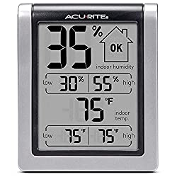 AcuRite 00613 Digital Hygrometer & Indoor Thermometer Pre-Calibrated Humidity Gauge, 3 H x 2.5 W x 1.3 D, Black