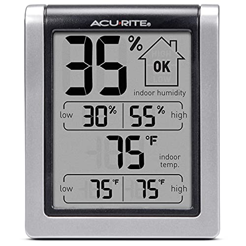 AcuRite 00613 Digital Hygrometer & Indoor Thermometer Pre-Calibrated Humidity Gauge, 3' H x 2.5' W x 1.3' D, Black