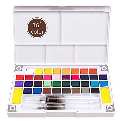 Ebanku conjunto de pintura de acuarela 36 colores de viaje de bolsillo, para principiantes, niños, artistas al aire libre, pintura de boceto de campo