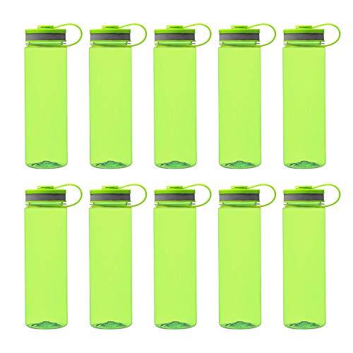 10 Wide Mouth Water Bottles Set, 26 oz. - Tritan Plastic, BPA Free - Lime Green