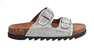 Dejavu Faux Leather Studded Buckled Strap Slide Slippers for Women