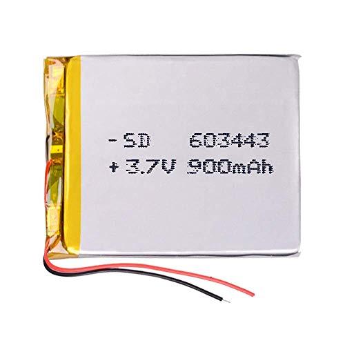 DronePost Batería 603443 LiPo 3.7V 900mAh 1S Recargable teléfono portátil vídeo mp3 mp4 luz led GPS (3.7V|900mAh|603443)