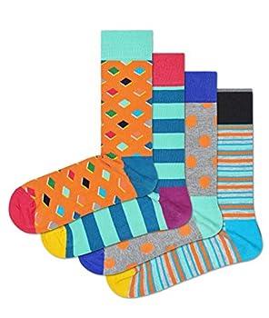HS by Happy Socks 4 Pair – Fun Novelty Big Dot Gift Box for Men & Women Orange 9-11