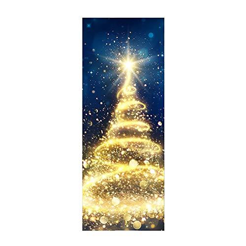 QiaNgshuAikj Etiquetas Adhesivas para Puertas, Etiquetas Adhesivas Doradas Impermeables para árboles de Navidad, calcomanías extraíbles para Puertas de Pared, Bricolaje, Use, Impermeable