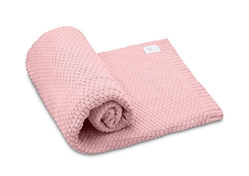 EliMeli Babydecke Kuscheldecke Strickdecke 100% Baumwolle perfekt für Babys Geschenkverpackungen Hergestellt in EU (Pink)