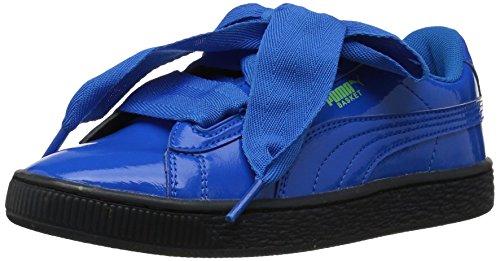 PUMA Unisex Basket Heart Iced Glitter Block Kids Sneaker, plat Blue Black, 1 M US Little