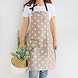 Dusenly Delantal de mujer con dos bolsillos con diseño de estrellas de moda de algodón y lona, delantales para mujeres, cocinar, parrilla y hornear (kaki)