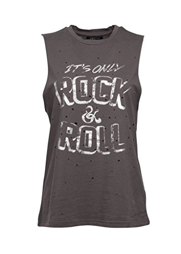 Graues It's ONLY Rock'n'ROLL Damen Tank Top im Destroyed Look – Gr. L