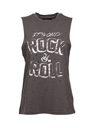 Grey It's Only Rock'n'Roll Débardeur pour femme au look destroyé - Gris - 36/38