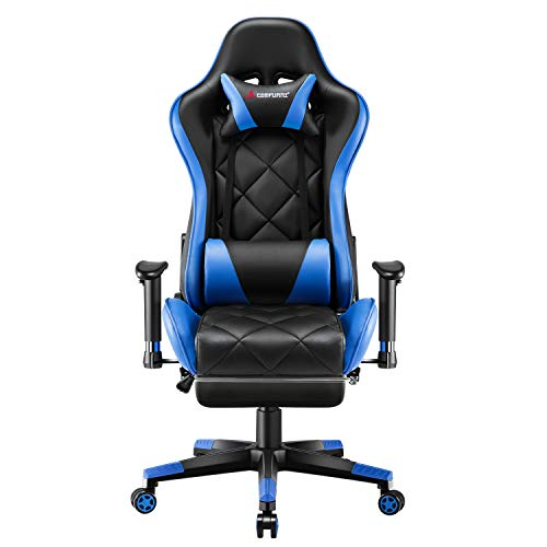 JL Comfurni Video Gaming Chair Racing Computer Chair with Footrest Ergonomic Office Desk Chair 360° Swivel High-Back Gaming Recliner with Lumbar Support Blue