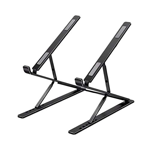 H HILABEE Portable Aluminum Alloy Folding Portable Stand Adjustable Laptop Holder Riser for Below17 Inch - Balck
