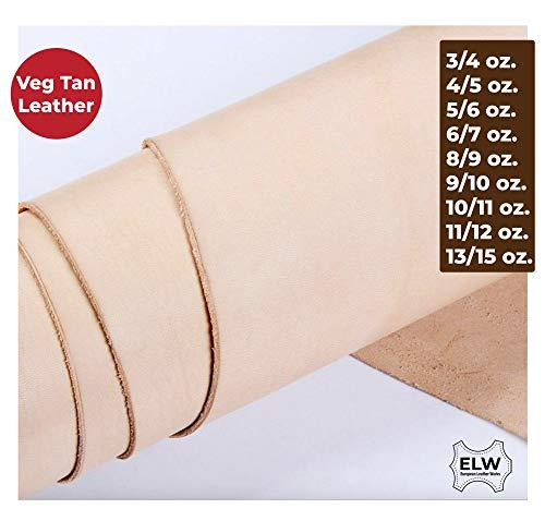 "ELW Veg Tan Full Grain Tooling Leather 3/4oz 5/6oz 6/7oz 8/9oz 9/10oz 11/12oz 13/15oz (1mm-6mm) Weight Pre-Cut Squares 6"" to 48"" Crafting, Sewing, Molding"