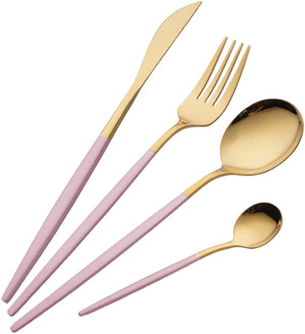Juego de Cubiertos de 16 Piezas,Cubiertos dorados y rosa acero inoxidable,Utensilios de Acero Inoxidable Juego de Servicio para 4,Incluyendo cuchillo / tenedor / cuchara / cucharadita (Oro rosado)