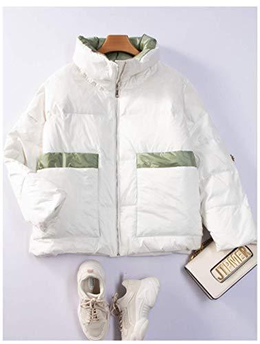 SJIUH Abajo chaqueta, 90% pato blanco abajo chaqueta de las mujeres invierno pluma abrigo espesar caliente femenino corto Down Puffer Chaquetas Parka marca nieve ropa exterior, blanco, M