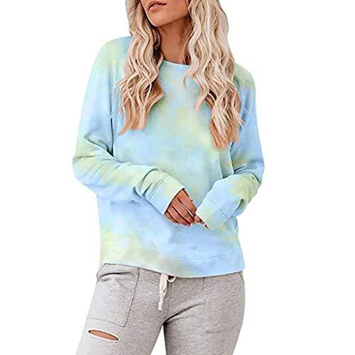 Best Buy! MRktkr Womens Fashion Tie-Dye Tops Pullover Casual Crewneck Long Sleeve Loose Blouse 2020 ...
