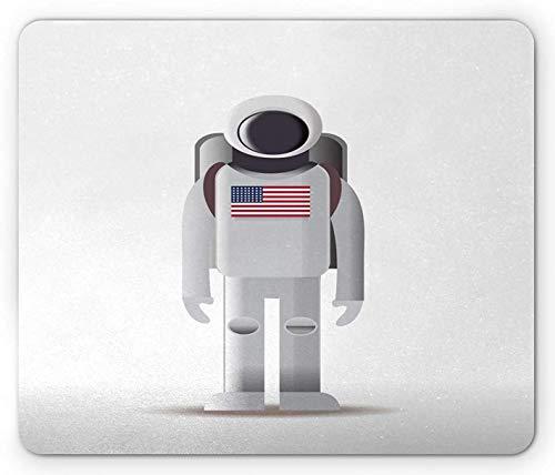 Astronauten-Mauspad, Digitales Bild Eines Amerikanischen Raumfahrers Mit Der Us-Flagge Auf Anzug, Rutschfestes Gummi-Mauspad, Weißes Hellgrau