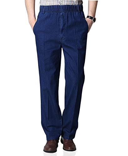 Soojun Mens Casual Loose Fit Elastic Waist Denim Pants, Deep Blue, 34W x 32L