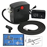 F2C TC-100 Dual Action Mini Air Compressor Airbrush Kit Airbrushing System for Art Painting Tattoo Manicure Craft Cake Spray Model Air Brush Gun Nail Tool