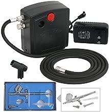 F2C TC-100 Dual Action Mini Air Compressor Airbrush Kit Airbrushing System for Art Painting Tattoo Manicure Craft Cake Spray Model Air Brush Gun Nail Tool