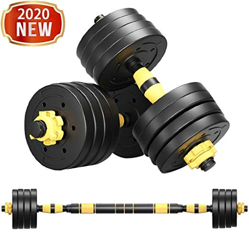 FASESH Dumbbells Barbell Set - Adjustable Weight Fitness Dumbbells Set -Free Weights Dumbbells with Connecting Rod Used As Barbell for Gym Work Out Home Training Suitable for Men and Women (88)