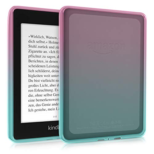 kwmobile Case for Amazon Kindle Paperwhite (10. Gen - 2018) - Soft TPU Silicone Skin Protective e-Reader Back Cover - Dark Pink/Blue Matte