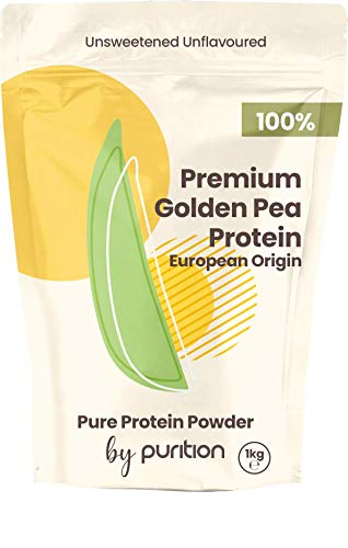 Natural 100% Vegan Pea Protein Powder by Purition - Plant-Based Protein, European Origin, Gluten & Dairy Free, Natural Source of Iron & Vitamin B - 1KG (40 x 25g Servings)