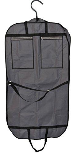 """Smartek 43 """"Foldover traspirante porta abiti da viaggio, con manici e parte frontale in vinile, colore: nero/grigio, 2 tasche esterne con chiusura a zip per maggiore spazio"""