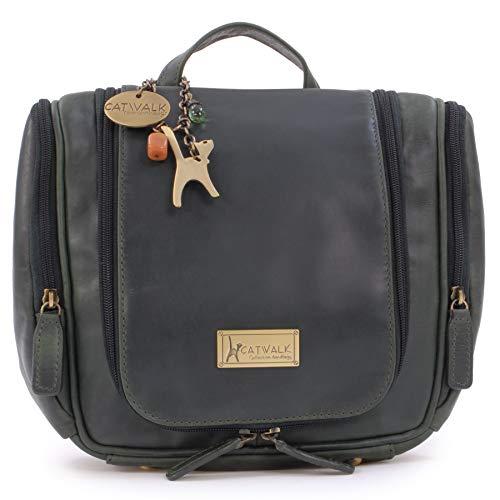 CATWALK COLLECTION HANDBAGS - Damen/Frauen - Echtleder - Kulturbeutel Kulturtasche zum Aufhängen | Kosmetiktasche groß für Koffer & Handgepäck | Wäschetasche Reise-Tasche - Maisie - Grün