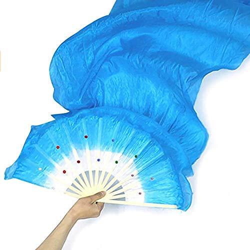 RuiXiang 1.8M Long Dance Fan,Belly Dance Bamboo Fan,Yangko Fan Silk Fan,Square Dance Morning Practice Simulation Silk Fan (Blue)