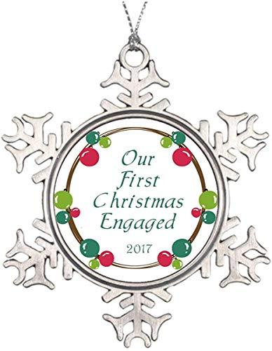 JamirtyRoy1 3' Snowflake Ornament, Christmas Ornament, Xmas Ornaments Metal Snowflakes Round Our First Christmas Engaged 2017 Custom Ornament Keepsake Gift, Christmas Decor
