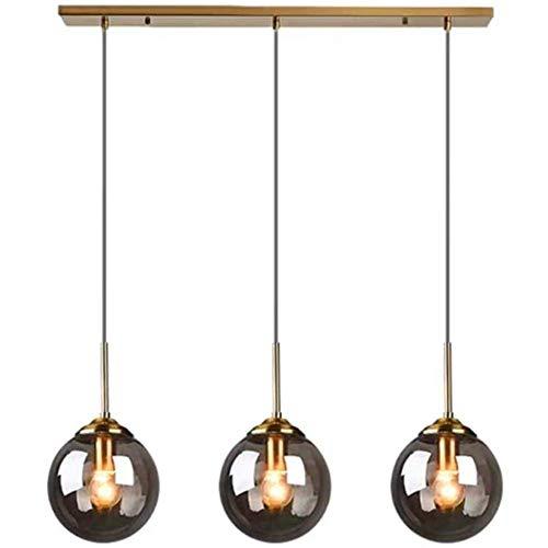 AUNEVN Pendelleuchten Moderne Esstisch Hängeleuchte 3- Flammig Mundgeblasen Glas Hänge-Lampe Vintage Grau Glaskugel Pendellampe Retro Industrie Loft Deckenlampen Wohnzimmer Esszimmerlampe Kronleuchter