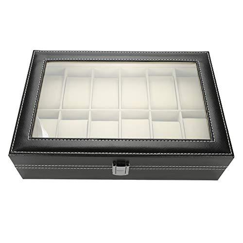 Mire la caja de almacenamiento, vitrina de reloj de cuero de 12 ranuras PU con cubierta de vidrio, estuche de reloj de diseño bloqueable para hombres/mujeres