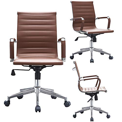 2xhome Mid Century Office Chair with Arms Wheels Modern Desk Chair Ergonomic Executive Chair Mid Back PU Leather Arm Rest Tilt Adjustable Height Swivel Task Computer Conference Room (Brown)