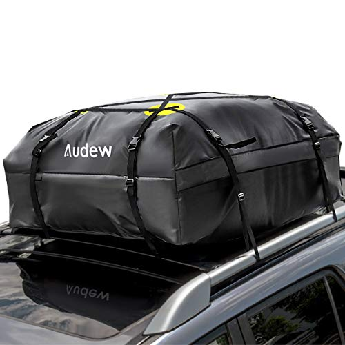 Audew Roof Top Cargo Carrier, Waterproof Rooftop Cargo Bag for Cars, Trucks, Van and SUVs - Soft Shell Luggage Rack Bag on Car Topper (15 Cubic Feet)