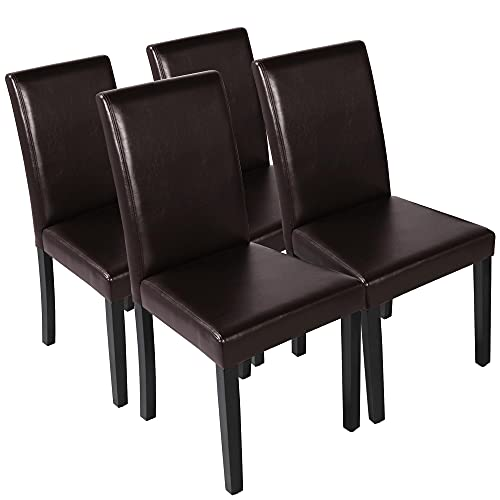 Yaheetech Set of 4 Brown Dining Chairs Modern PU Leather High Back Padded...