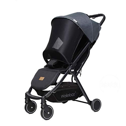 JINGQI Aleación de Aluminio 2 en 1 Cochecito de bebé portátil Carro de bebé del Cochecito Plegable Ajustable del Cochecito de bebé del Cochecito de niño de Alta Ver Viaje Cochecito,Gris