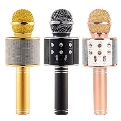 RYLAN Advance Handheld Wireless Singing Mike Multi-function Bluetooth Karaoke Mic With Microphone Speaker For All Smart Phones iOS/Android, Wireless Microphone (Multicolour)