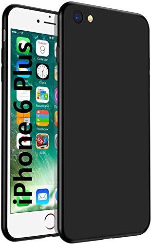 Für iPhone 6 Plus Hülle iPhone 6s Plus Handyhülle Schwarz Silikon Case Cover Fallschutz rutschfest Mattierte TPU Schutzhülle mit iPhone 6/6s Plus - Schwarz