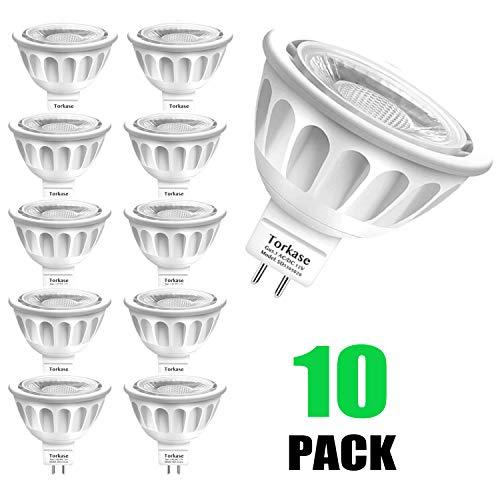 MR16 Ampoule LED Lampe Bulb, Torkase GU5.3 5W Lumière LED, Equivalent 50W Ampoule Halogène Blanc Chaud 2700K 450LM AC/DC 12V Non-dimmable Spot LED (Lot de 10)