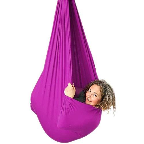 Hamaca de Yoga aérea, Swing de Terapia Interior para niños con Necesidades Especiales Snuger Swing Abrazar Hamaca para niños con Autismo ADHD Aspergers (Color : Rose Red, Size : 100x280cm/39x110in)