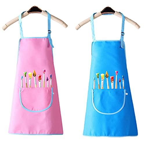 Kinder Schürz 2 Stück Verstellbare Malschürze Kinder mit Tasche Wasserdicht Kinder Schürzen Kinderschürze Mädchen Jungen Set zum Kochen Backen Malen Training Kindergröße (Pink Blau 5-12 Jahre)