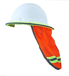 Safety Depot High Visibility Reflective Hard Hat Neck Sun Shade Meets ANSI & NFPA 701 (2010) Standards (Single Orange, Mesh)