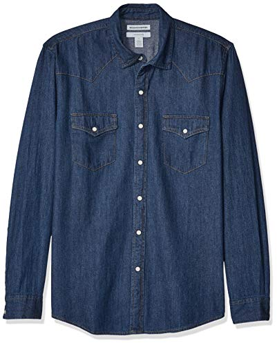 Amazon Essentials Men's Slim-Fit Long-Sleeve Denim Shirt, Medium Blue, Large