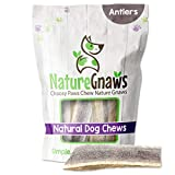 Nature Gnaws Elk Antlers for Large Dogs - Premium Natural USA Antler Chews - Long Lasting Dog Bones for Aggressive Chewers - Mix of Split and Whole - 5-8 Inch (1 Count)
