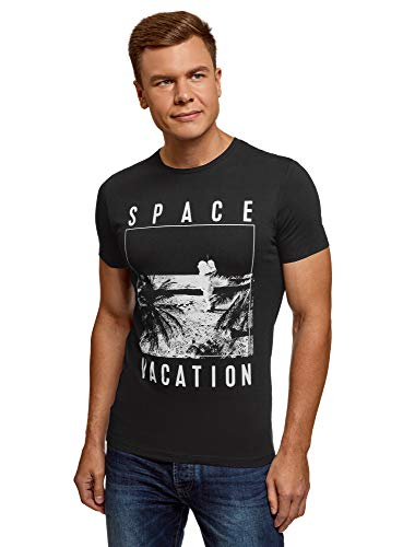 oodji Ultra Uomo T-Shirt Stampata in Cotone, Nero, IT 42 / EU 44 / XS